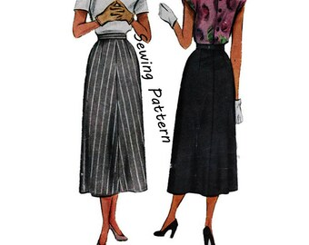 1940's McCall 7307 Woman's A-Line Skirt Size 28 Waist    Waist 28in/ 71cm    Vintage Sewing Pattern