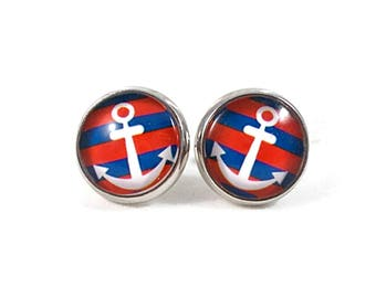 Anchor Earrings Anchor Jewelry Red White and  Blue Nautical Jewelry Nautical Earrings Large Stud Earring Large Post Earrings for Teens