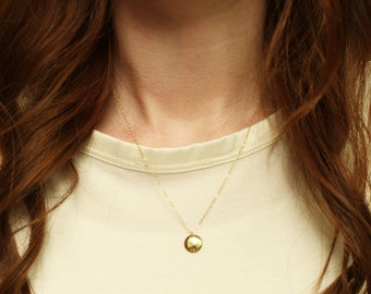 Gold disc necklace / Disc necklace / Gold dot necklace / Layering necklace / Gold disk necklace / Circle tag necklace