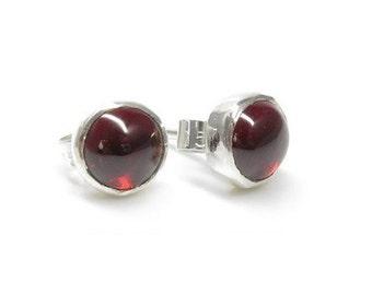 Garnet Earrings, Sterling Silver Garnet Studs, Garnet Jewellery, Red Gemstone Studs, Birthstone Earrings, January Birthstone,  Gifts for Her