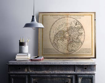 Poster big size map of emisfero settentrionale - Ancient world map - old map print - map poster A1 dimension - Studio deco