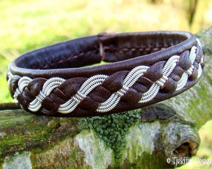 FENRIS WOLF Viking Bracelet   Swedish Saami Pewter and Brown Leather Cuff   Handcrafted Nordic Folklore Jewelry in Your Size and Color