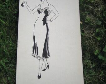 1950's Fashion Sketch Original Artwork Black and White Ink Watercolor Lingerie