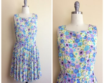 90s Grunge Rayon Floral Mini Dress / 1990s / Vintage / Blue and Purple Fit and Flare Day Dress / Small / Medium