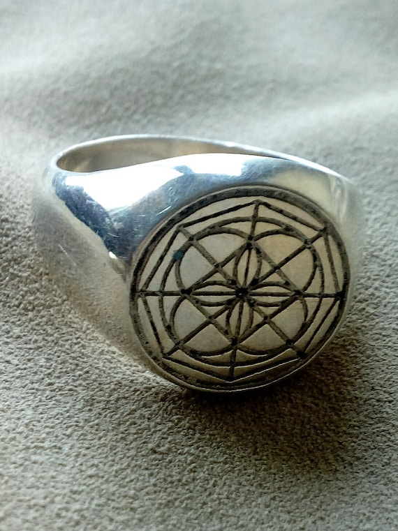 Univeral Symbol Kenpo Ring In Solid Silver Okinawan Karate Ed