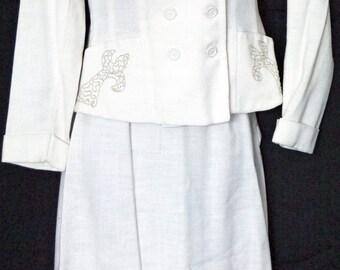 1950s Honeymoon Linen Suit Sz 2 Vintage Retro Womens