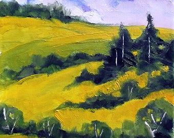 Santa Ynez Hills Impressionist Painting Plein Air Landscape California Art Lynne French o/c 8x10