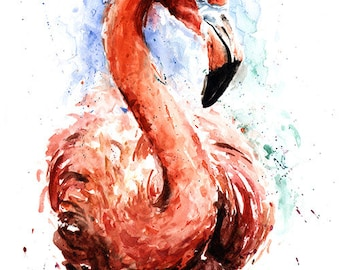 FLAMINGO PRINT - pink flamingo decor, flamingo art, flamingo painting, bird lover, flamingo artwork, flamingo art print, flamingo gift