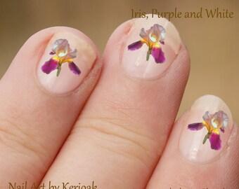 Iris bloem Nail Art, paars en geel Iris Nail Art Stickers, vingernagel stickers, vinger nail art, bloem, plant, stickers