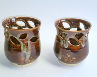 Amber and Green Votive Candle Holder or Luminary with Vine Leaf Cut-outs  -  Wheel Thrown Pottery