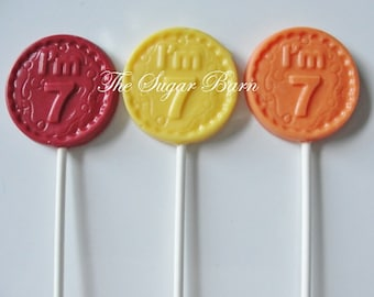 7th BIRTHDAY CHOCOLATE Lollipops*12 Count*I'm 7*Party Favors*7th Birthday*7 Year Old Party Favors*Number 7*#7 Birthday