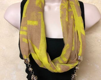 Light Weight Tan and Yellow Infinity Scarf