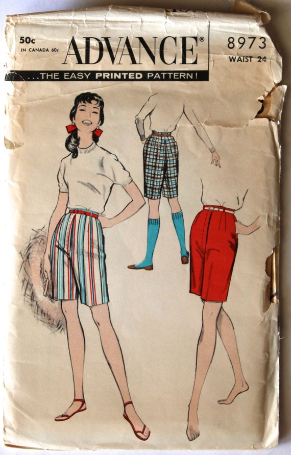 Jahrgang 1950 s Damen Bermuda Shorts Nähen Muster Taille 24