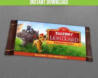 The Lion Guard Birthday Chocolate Wrappers - Instant Download and Edit with Adobe Reader