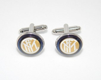 F.C Inter Milano logo cufflinks, fc inter milano football, fc football cufflinks, football sports team, soccer fc cuff link wedding gifts