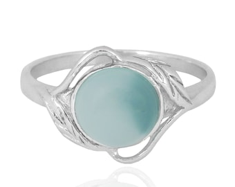 Sterling Silver Blue Chalcedony Ring with Leaf Patterns