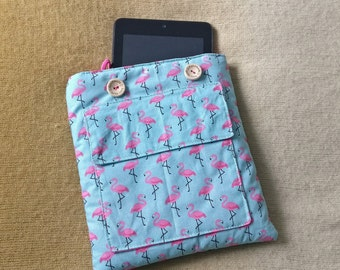 """Homemade 8"""" Tablet Cover - Flamingo pattern"""