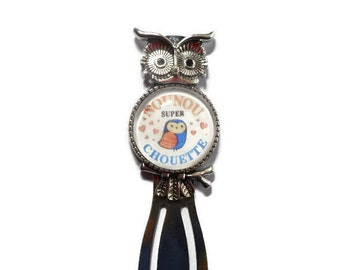 """""""OWL"""" paperclip bookmark """"OWL great nanny"""" /Nounou/ / Wonderland faby/gift/party / thanks"""