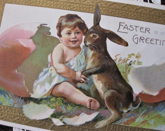 Vintage Easter Bunny and Child Postcard, with Pink Egg, Gold Embossed Border
