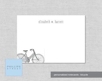 personalized note cards -- bicycle -- personalized stationery -- bike note cards -- stationary -- wee notes -- SET OF 10