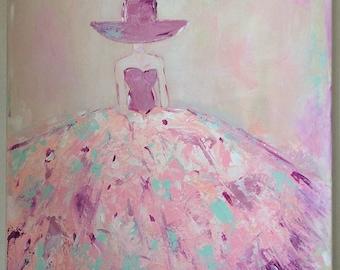 Women dress colorful - table table modern woman - romantic woman canvas