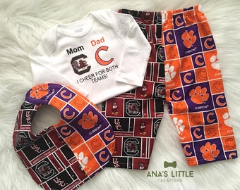 Custom House Divided Bodysuit (Clemson Tigers- University of South Carolina) I Cheer For Both Teams and Pants or Shorts Bib 3pc Set