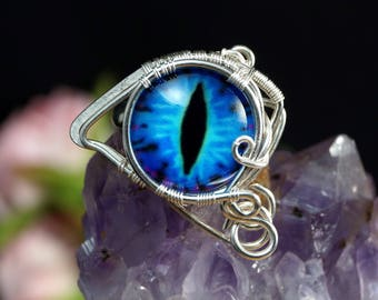 Blue dragon eye Sterling Silver ring gift for her gift for mom / wire wrapped / artisan handmade jewellery / ring size 6 US perfect present