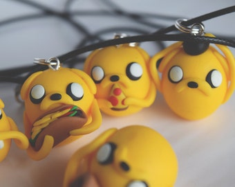 Necklace Jake the dog, ADVENTURE TIME, pizza, Jake, finn the human, taco, onigiri, sushi, pizza, bacon