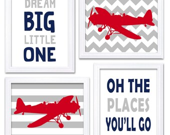 Airplane Plane Nursery Art Red Navy Blue Grey Nursery Print Set of 4 Transportation Dream Big Little One Oh The Places You'll Go Wall Decor
