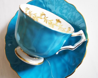 Aynsley Teacup and Saucer / Turquoise Blue Crocus Tea Cup / Aynsley China