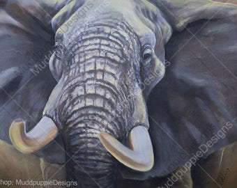 A3 Large - ELEPHANT Bull Close up ILLUSTRATION wildlife portraits wall art African desert Ellie Etosha conservation blue grey nature lovers