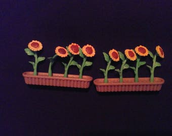 Vintage Lot 2 Miniature Plastic Potted Sunflowers Fairy Garden Total 8 Flowers Garden Floral Supplies Crafts Diorama