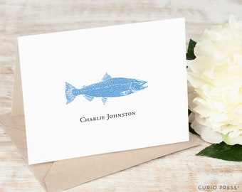 Personalized Note Card Set / Folded Stationery / Stationary Notecard Set / Casual Stationary // FISH Folded