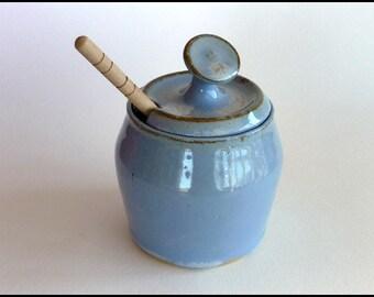 Honey Pot, Honey Jar, Ceramic Honey Jar, Pottery Honey Jar, Sugar Bowl, Honey Keeper, Honey Dipper, Cooks Foodie Gift, Mothers Day Gift