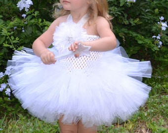 White Ballerina Style Girls Tutu Dress for Weddings, Pageants, Photos, Birthdays