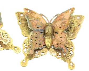 Raw Brass Filigree Butterfly Pendant (30x33 Mm) D221--n685