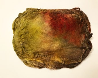 Hand Dyed Silk Fiber Mawata Silk Hankies for Felting, Spinning, Knitting. GOLD, TAN and GREEN.