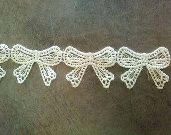 White lace ribbon bow gift shaped
