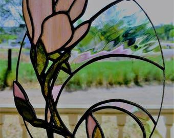 6.5x9 inch Stained Glass Magnolia Flower Suncatcher