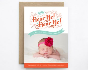Girl Birth Announcement - Hear Ye! Hear Ye! in Coral Red & Aqua