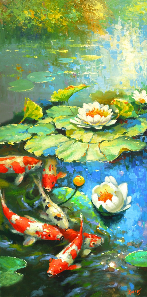 Water Lily Suny Pond Oil Palette Knife Painting On Canvas By