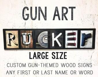 Gun Gifts for Men Husband Boyfriend Him, Gun Signs Custom Gun Sign Metal, Gun Art Wall, Gun Wall Art, Gun Artwork Gun Photo Letter Art LARGE