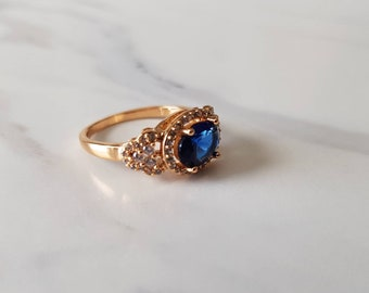 Vintage Ring Rose Gold Ring Art Deco Ring 1930s Ring 1920s Ring Blue Engagement Ring Blue Sapphire Promise Ring Vintage Ring Statement Ring