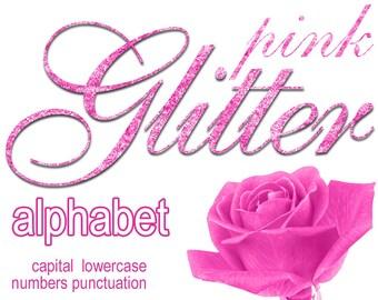 Digital Pink Glitter Alphabet, Digital Lettering, Glitz Printable Lettering, Digital Download, #45