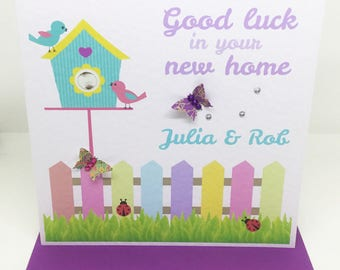 Personalised Handmade Good Luck in your New Home Card