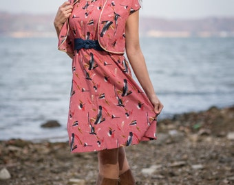 Vintage Pink And Navy Blue Bolero Belted Dress (Size Small)