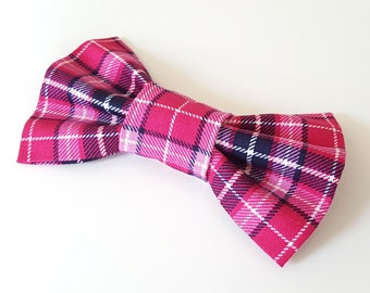 Dog Bow Tie - Pink Plaid Check