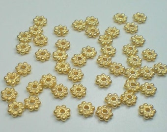 Thirty (30) BALI .24K Gold Vermeil over 925 Sterling Silver 3.5mm Shiny Daisy Spacer Beads