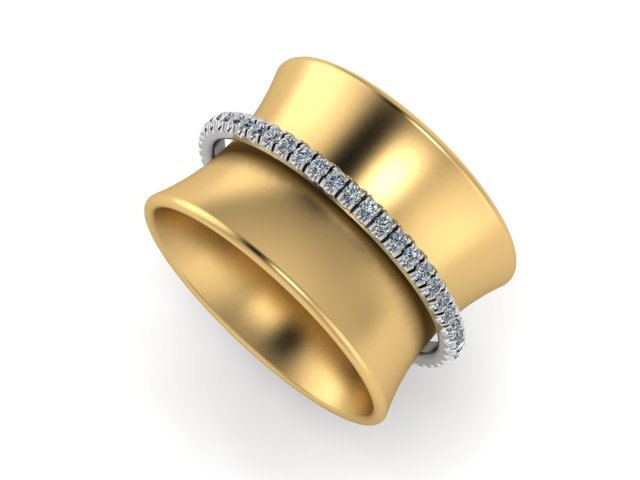 14k yellow Gold Spinner Ring Wide Band Ring Diamond Band
