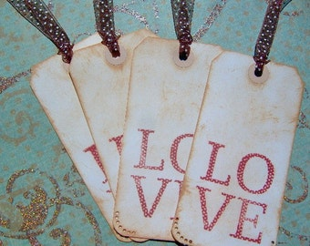 LOVE Vintage Themed Gift Tags - 4 Medium Tags - Valentines Day